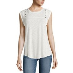 jcp | a.n.a® Short Flutter-Sleeve Studded-Yoke Pullover Top