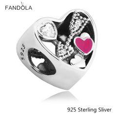 Beads Fits Pandora Bracelets 100% 925 Sterling Silver Jewelry Heart Struck by Love Original Fashion Charms CKK #Affiliate