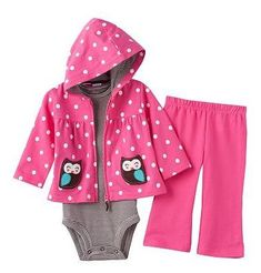 Carters Baby Girl Clothes 3 Piece Outfit Set Pink Owls 3 6 9 12 18 24