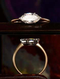 EB Marquise Ring, 1.03ct Antique Marquise Diamond (GIA: H/VVS2), 18K Gold and Platinum, $8550