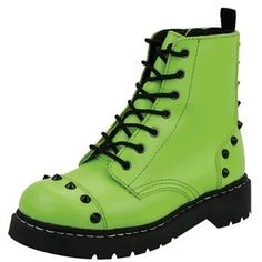 T.U.K. Shoes T2197 - $90.00 - Studded Neon Green Ankle High Anarchic Boots