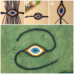 DIY macrame evil eye step by step photo tutorial