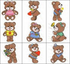 """Sweet Teddies"" +FREE Sample! If Teddy  Bears are your passion, then you'll want to cuddle up with this set of 11 boy and girl teddy bears in your choice of 3 hoop sizes. Great for kids quilts!"