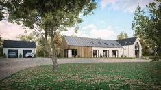 A modern house in Straffan, County Kildare to suit a (growing) young family. featuring timber cladding and zinc roof with open plan living. Residential architects slemish design studio work all over Northern Ireland UK and Ireland House Designs Ireland, Modern Bungalow House, Bungalow Ideas, Modern Houses, Zinc Roof, Self Build Houses, Contemporary Barn, Bungalow Renovation, Residential Architect