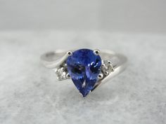 Tanzanite and Diamond Bypass Ring, Perfect Daytime Size Teardrop Ring, Bypass Ring, Tanzanite Ring, Right Hand Rings, One Ring, White Gold Rings, Wedding Rings, Engagement Rings, Prong Set