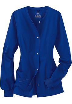 Cherokee Luxe Collection stretch scrub jacket. Medium, royal blue.