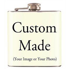 Custom Made Liquor Hip Flask Stainless Steel 6 oz (FK-M014) | chuti - Housewares on ArtFire