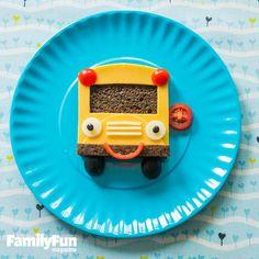 A sandwich that looks like a school bus.