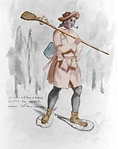 The Coureur De Bois, or woods-runner. French trappers and traders who of necessity and/or inclination adopted native habits and often intermarried with native women.
