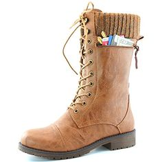 Women's DailyShoes Combat Style Lace up Ankle Bootie Round Toe Military Knit Credit Card Knife Money Wallet Pocket Boots, Tan Pu, 5 DailyShoes http://www.amazon.com/dp/B0155NAD08/ref=cm_sw_r_pi_dp_TDeexb02CNMJ1