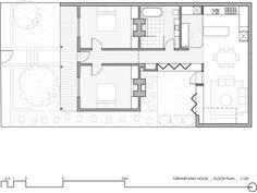 Floor plan after renovation of Turnaround House by Architecture Architecture opens onto a courtyard