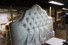 DIY tufted headboard   Shiny silver yeah that's the ticket