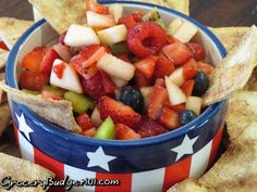 Fruit Salsa with Cinnamon Tortilla Chips- A succulent fruit salsa bursting with fresh kiwi, strawberries, apple and plump berries and served with crispy baked cinnamon tortilla chips. A wonderful addition to any summer BBQ or gathering. (click on photo for recipe)