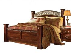Triomphe Brown Cherry Wood Metal King Poster Bed