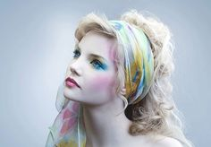 Colorful Doll Makeup with Teal Shades and Flowered Headscarf