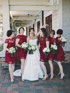 Burgundy Lace Scoop Neck Short Sleeve Short/Mini Promotion Bridesmaid Dresses #PDS01012465