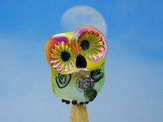 Mabel lampwork owl bead sra by DeniseAnnette on Etsy, $23.00
