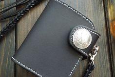 Handmade black leather short biker wallet chain bifold short wallet pu | EverHandmade