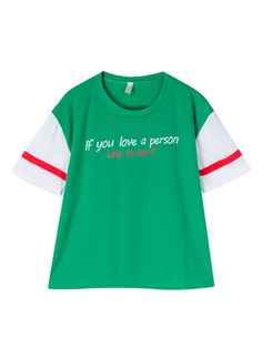 Women Short Sleeve O Neck Letter Printed Candy Color T-shirt