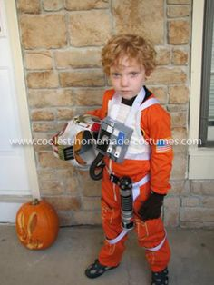 Homemade Luke Skywalker Pilot Costume: To my surprise, my 5 yr. old son wanted to be Luke Skywalker as a X-Wing Pilot for Halloween (thanks to the Lego Star Wars games). Since it was not the