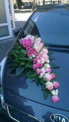 Autoversiering Source by patrickdonkers Church Wedding Decorations, Stage Decorations, Flower Decorations, Floral Bouquets, Wedding Bouquets, Wedding Flowers, Floral Centerpieces, Floral Arrangements, Bridal Car