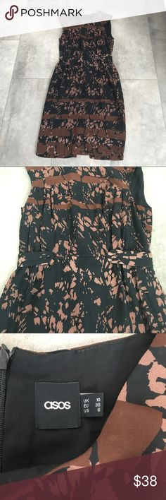{asos} brown and black sleeveless dress! Asos brown and black sleeveless dress! Size 6. Zipper up the back. Pit to pit is 17 in. Length is 40 in. Waist flat is 14 in. Excellent condition. Bundle and save! Asos Dresses