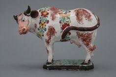Petit-feu en doré Delftse koe, 18e eeuw
