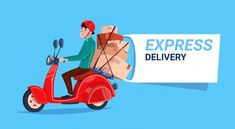 Express Delivery Service Icon Courier Boy Riding Motor Bike Template Banner With Copy Space Flat Vector Illustration Courier Companies, Lion Wallpaper, Banner Design, Case Study, Motorbikes, Vector Free, Templates, Illustration, Character Illustration