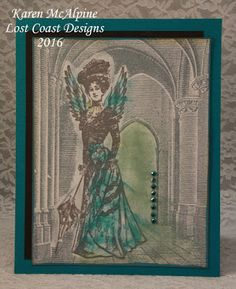 Flying Lady from Lost Coast Designs Stamps on card by Karen McAlpine