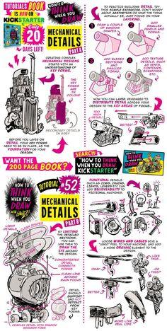 How to draw MECHANICAL DETAILS - KICKSTARTER BOOK! by STUDIOBLINKTWICE