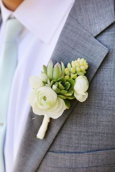 Succulent & Rose Boutonniere, green and white boutonniere | Chloe Moore Photography: