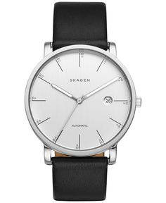Skagen Men's Automatic Hagen Black Leather Strap Watch 40mm SKW6302
