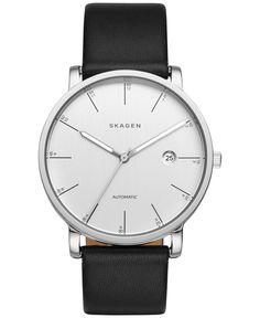 Skagen Men's Automatic Hagen Black Leather Strap Watch 40mm SKW6302
