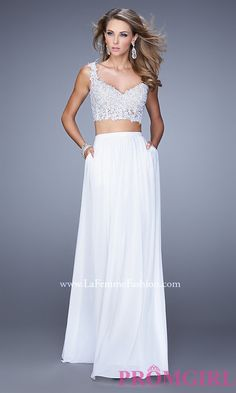 Long two piece La Femme Prom Dress with lace crop top