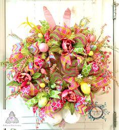 CLEARANCE  Easter Bunny Deco Mesh Wreath  by WreathsEtcbyLisa