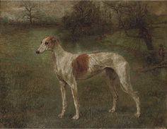 Follower of Arthur Wardle  A prize greyhound in a landscape