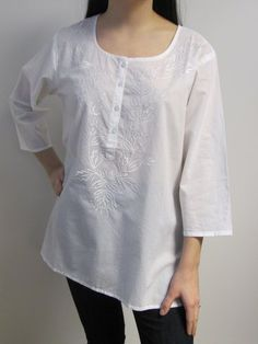 Plus Size White Cotton Tunic Top $32.00 soft Indian cotton embroidered tunic top for women Sizes: L to 4X.