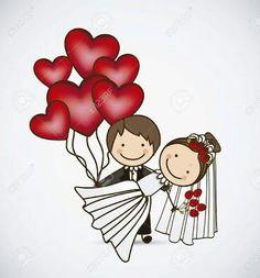 Wedding Anniversary Cards, Happy Anniversary, Wedding Invitation Cards, Wedding Couple Cartoon, Cute Couple Cartoon, Romance Art, Wedding Cards Handmade, Wedding Congratulations, Henna Tattoo Designs