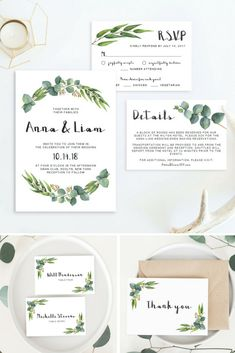 Lush eucalyptus wedding invitations are on trend. This greenery wedding invitation set designed by Papersizzle is perfect for any outdoor or botanical wedding. The templates are editable in Adobe Acrobat Reader (free version), which make them easy AND aff Wedding Invitation Sets, Invitation Suite, Wedding Stationary, Wedding Programs, Invitation Design, Invitation Cards, Diy Wedding On A Budget, Wedding Ideas, Wedding Trends