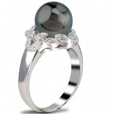 Imperial Pearl: 14K White Gold 9-10mm Tahitian Pearl & Diamond Ring
