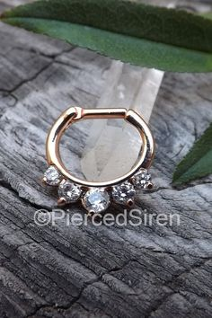 Septum piercing clicker 14g or 16g hinged five gem prong set rose gold stainless steel septum hoop ring daith piercing clickers nose jewelry