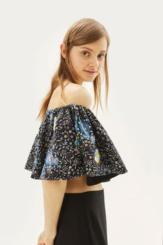777e81f01b7 Floral bardot crop top with bright floral embroidery. Prints by Mochi for  Topshop. Bardot
