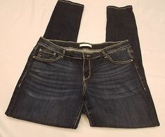 Daytrip Virgo Skinny Jeans sz 34 Long dark pants Buckle Cotton blend button zip