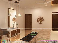 Modern Kerala interior designs November 2018 Bedroom Bed Design, Home Room Design, Modern Bedroom, Living Room Designs, House Design, Hall Interior Design, Interior Decorating, Beautiful Modern Homes, Room Partition Designs