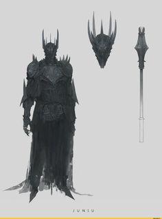 Sauron by Ben Juniu High Fantasy, Dark Fantasy Art, Dark Art, Inspiration Drawing, Fantasy Inspiration, Fantasy Armor, Medieval Fantasy, Armor Concept, Concept Art