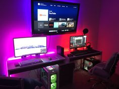 His and hers battle stations. Best Gaming Setup, Gaming Room Setup, Pc Setup, Office Setup, Desk Setup, Gaming Chair, Duel Game, Storage Chair, Gamer Room