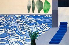 Beautiful blue painting by David Hockney called 'Hollywood Swimming Pool'