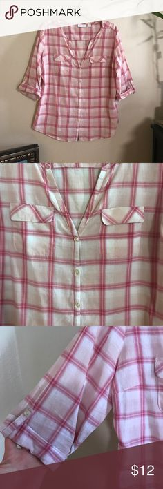 Summer button down Check out my bundle deals and love notes 😍 New York & Company Tops Button Down Shirts