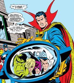 Dr Strange, the Defenders, the Avengers and the Evil Eye. Art by Sal Buscema. #Defenders #DrStrange #SalBuscema #EvilEye