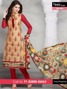 Cream Red New Chanderi Suit @ Rs 849/- Only Shop Now :- http://enasasta.com/deal/cream-red-new-chanderi-suit OR Call/WhatsAp-8288886065  Product Info ESC34P2 Deal is Valid For Today Only  Fabric Top: Chanderi Cotton  Bottom: Cotton  Dupatta : Nazneen Print  Fabric Semi Stitched  Get 5 % Extra Discount for Advance Payment via PayUMoney  Cash On Delivery Available !! FREE Shipping All Over India!!